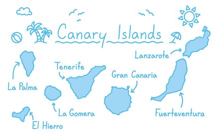 Canary islands map hand drawing doodle outline blue isolated travelling concept