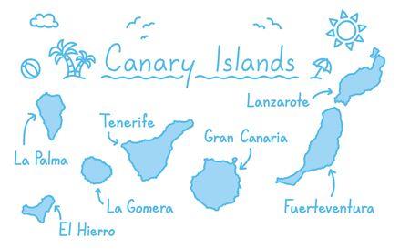 Wyspy Kanaryjskie mapy ręki rysunku doodle konturu błękit odizolowywali podróżnego pojęcie
