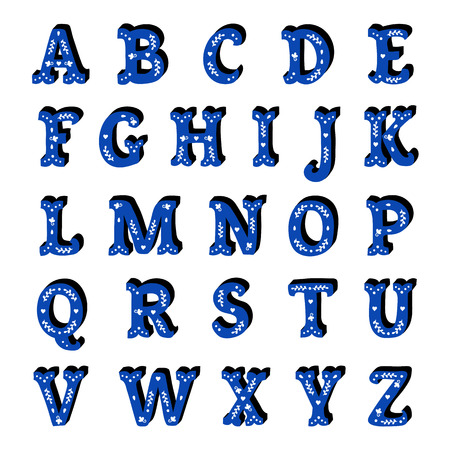 Blue floral ornate isolated letters Spanish style alphabet.
