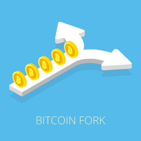 Bitcoin fork split arrow concept on blue background