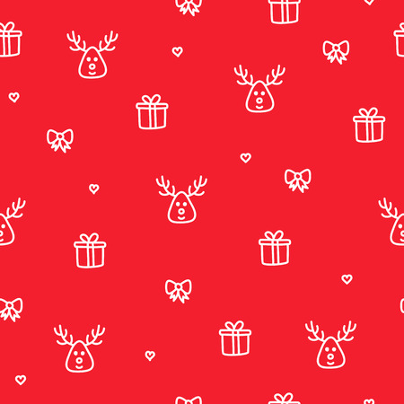 Winter reindeer red seamless pattern christmas gift concept
