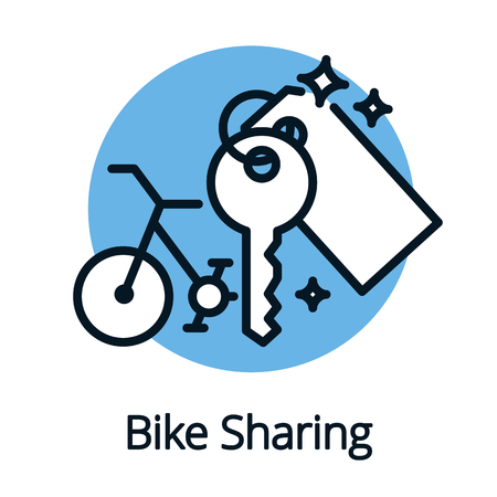 Bike sharing, share economy for better ecology concept isolated