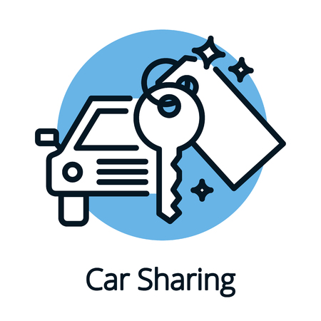 Vehicle or car sharing, share economy concept outline design