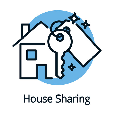 House sharing, property share concept with key