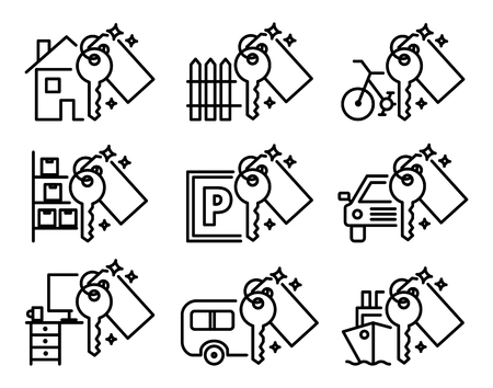 Set of various outline icons vector Illustration