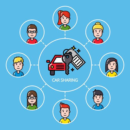 Car sharing concept with group of people
