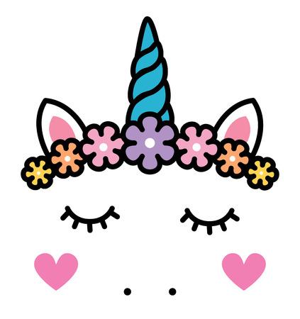 Cute unicorn face with pastel rainbow flowers.