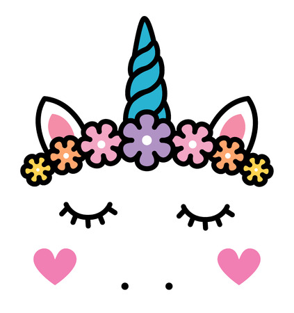 Cute unicorn face with pastel rainbow flowers.