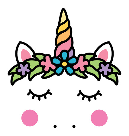 Minimalistic unicorn face with floral wreath. Stock Vector - 90907272