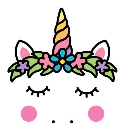 Minimalistic unicorn face with floral wreath.