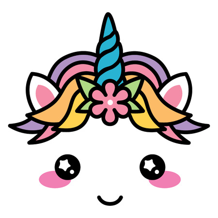 Kawaii cute unicorn face rainbow pastel color with flower vector Stock Photo