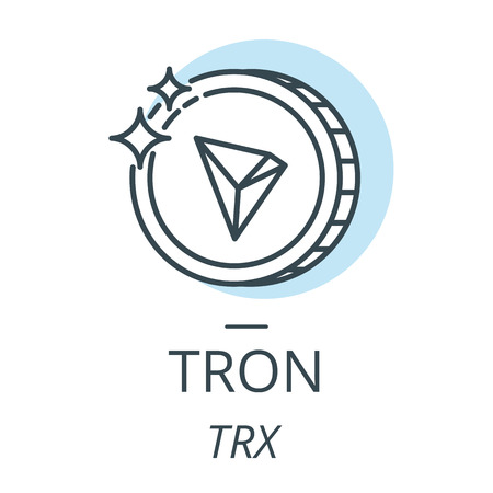 Tron cryptocurrency coin line, icon of virtual currency vector Ilustração