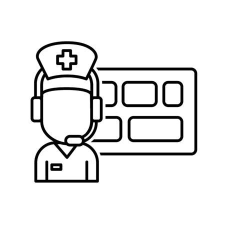Gezondheidszorg verkeerstoren of controlecentrum voor boeking, nieuwe technologie in ziekenhuis concept pictogram