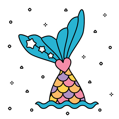 Pastel rainbow mermaid tail cute colorful isolated Illustration