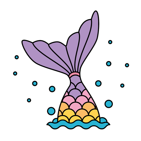 Mermaid tail rainbow pastel colorful jumping to water bubbles Illustration