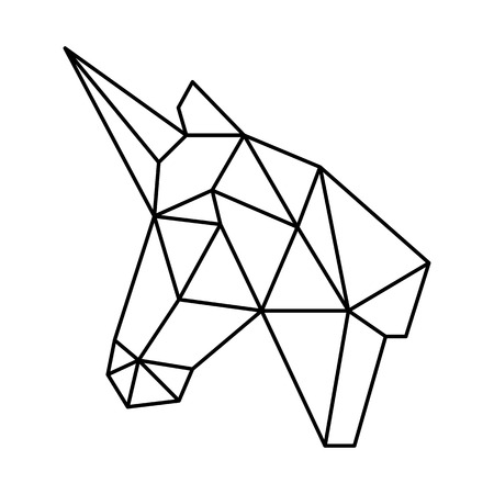 Geometric unicorn head polygonal origami black outline simple