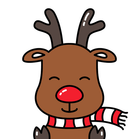 Cute smiling reindeer rudolph avatar head isolated with scarf