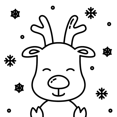 Cute christmas reindeer black outline with snow simple illustration Imagens