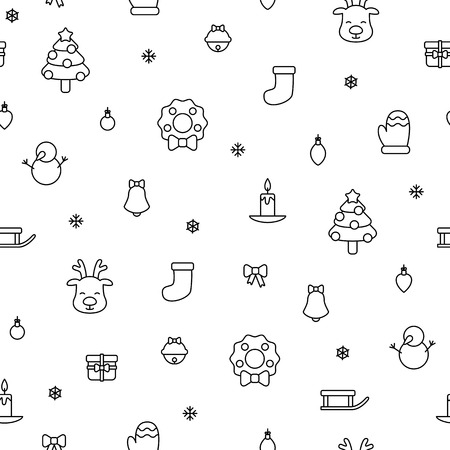 Various christmas items black simple outline seamless pattern vector