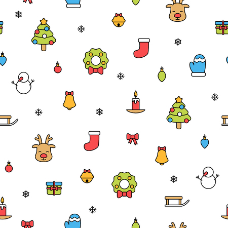 Colorful christmas items isolated on white background seamless pattern Imagens