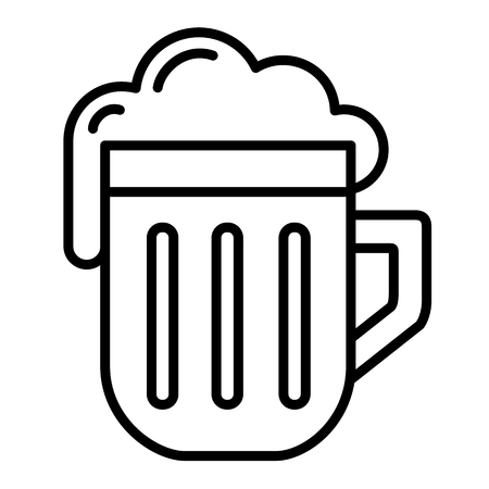Isolated linear black outline beer icon simple with foam vector Illustration