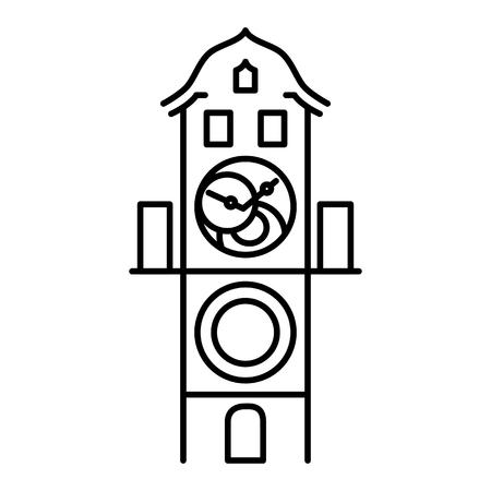 Prager astronomische Uhr isolierte Ikone einfachen schwarzen Umrissvektor Vektorgrafik