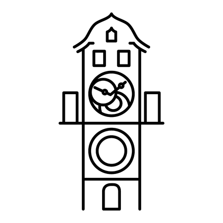 Prague astronomical clock isolated icon simple black outline vector