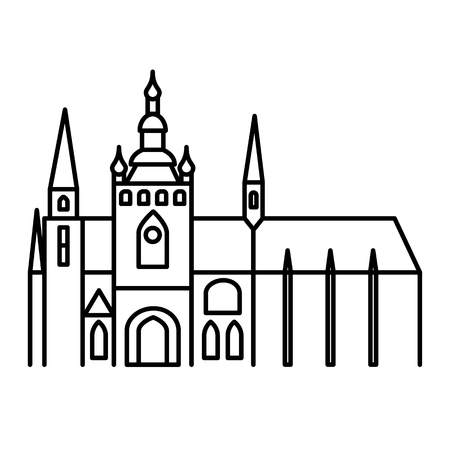 Prague castle simple linear black outline icon Illustration