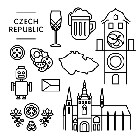 Czech various traditional things icons isolated black outline
