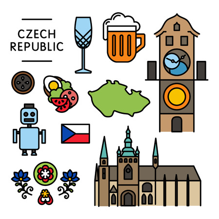 Czech traditional things icons isolated set colorful