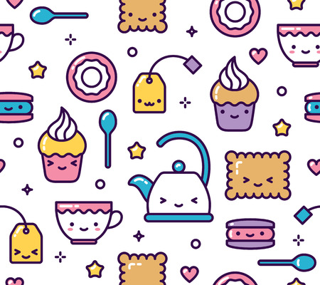Cute pastel kawaii seamless pattern tea party items vector
