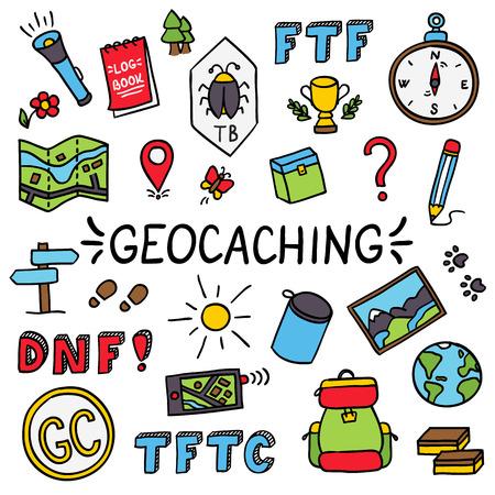 Geocaching buntes Gekritzelzeichnungs-Set equipment Vektorgrafik