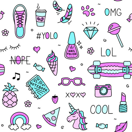 Cool teenager girl stuff and words seamless pattern drawing Çizim