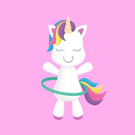 Cute unicorn pastel colorful with  hoop