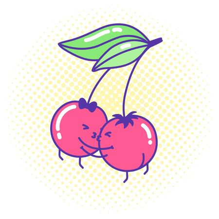 Funny cherry couple in love kawaii style kissing