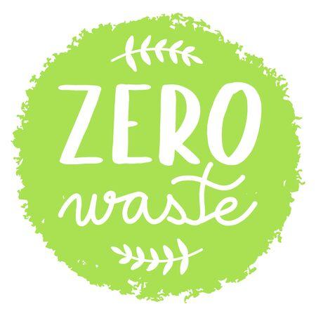 Zero waste green circle or badge Ilustração