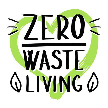 Zero waste living with heart ecological concept Ilustração