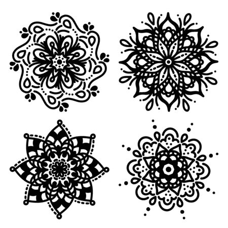 Set of simple mandalas for coloring floral concept