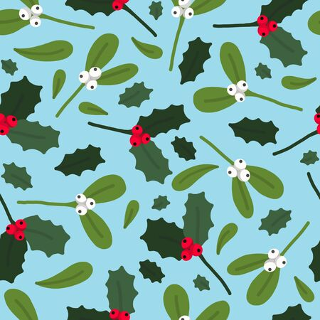 Mistletoe seamless pattern winter floral leaves with berries background