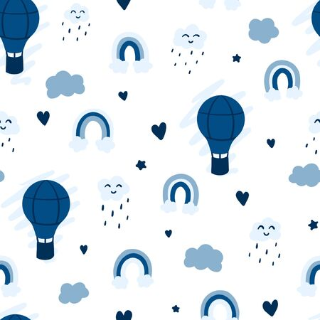Blue minimalistic balloon and rainbows seamless pattern, cute raining clouds, traveling concept