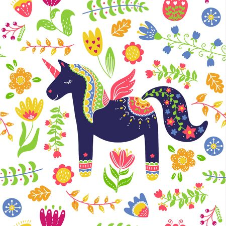 Cute unicorn floral background seamless pattern