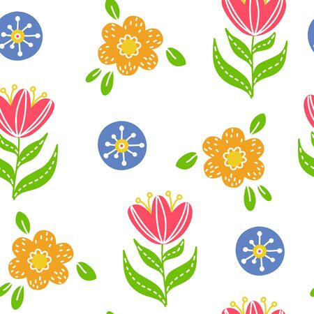 Colorful simple floral seamless pattern on white background doodle style