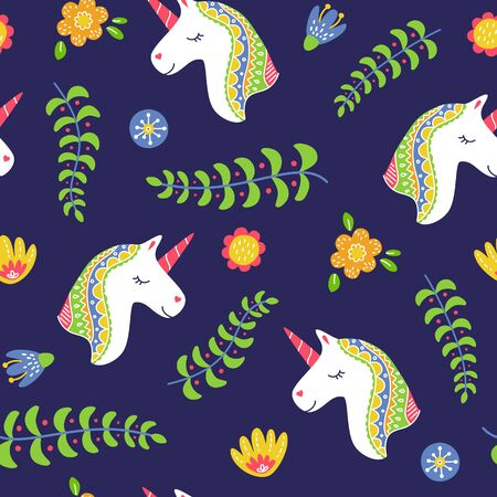 Cute unicorn head seamless pattern with floral elements spring concept Ilustração