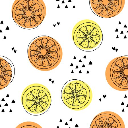 Citrus lemon and orange seamless pattern hand drawn ink outline