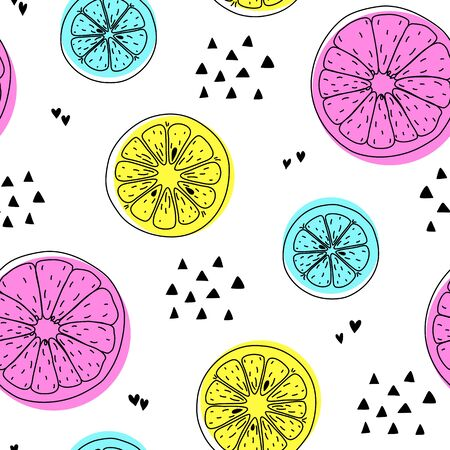 Citrus modern neon bright seamless pattern drawing with black outline doodle