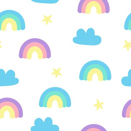 Pastel fluffy cute rainbow and clouds sky seamless pattern