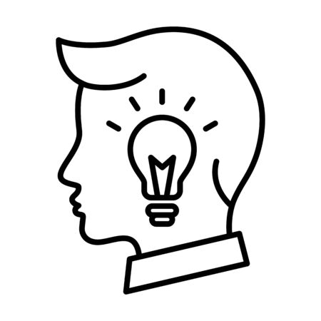 Business man head with lightbulb, outline icon, creative idea concept