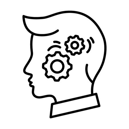 Man head with gears linear icon, solving intelligence concept vector