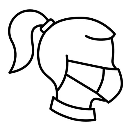 Surgical mask woman head side view linear icon vector
