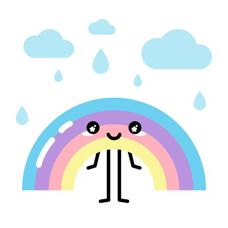 Kawaii pastel colorful rainbow smiling with clouds and drops vector Ilustração